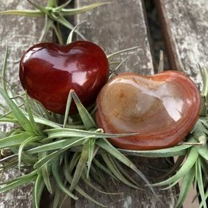 Other - Two red Carnelian carved heart crystal palm stones